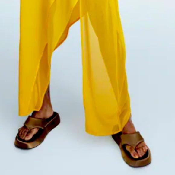 Zara Satin Effect low platform sandals NWT